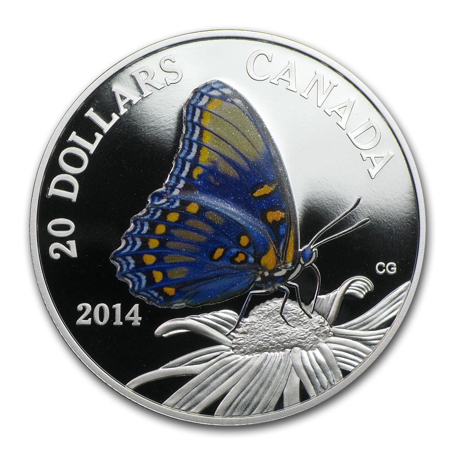 2014 1 oz Silver $20 Canadian Butterfly - Red Spotted Purple