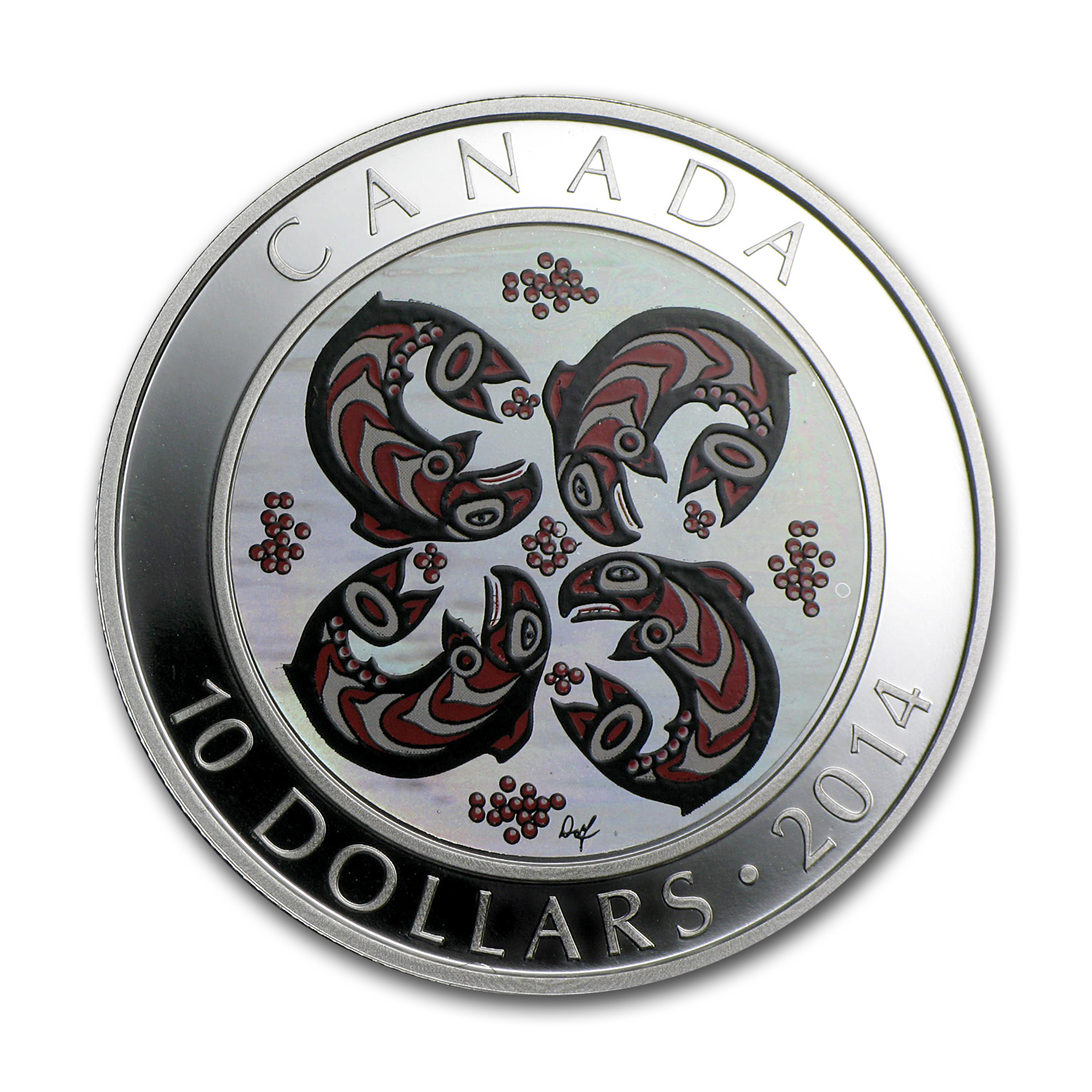 2014 1/2 oz Silver Canadian $10 - First Nations Art - Salmon