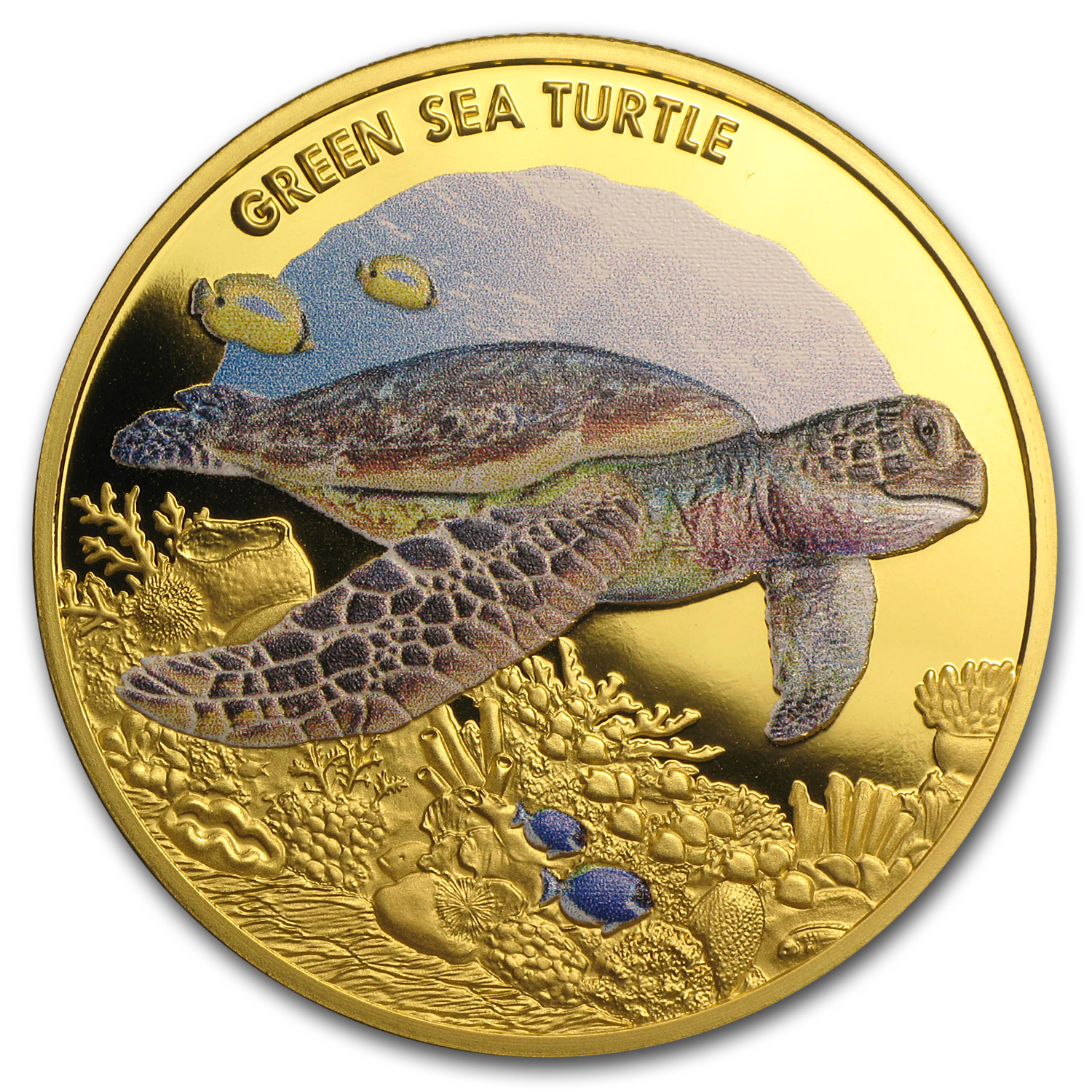 2014 1 oz Proof Gold Green Turtle (Endangered and Extinct)