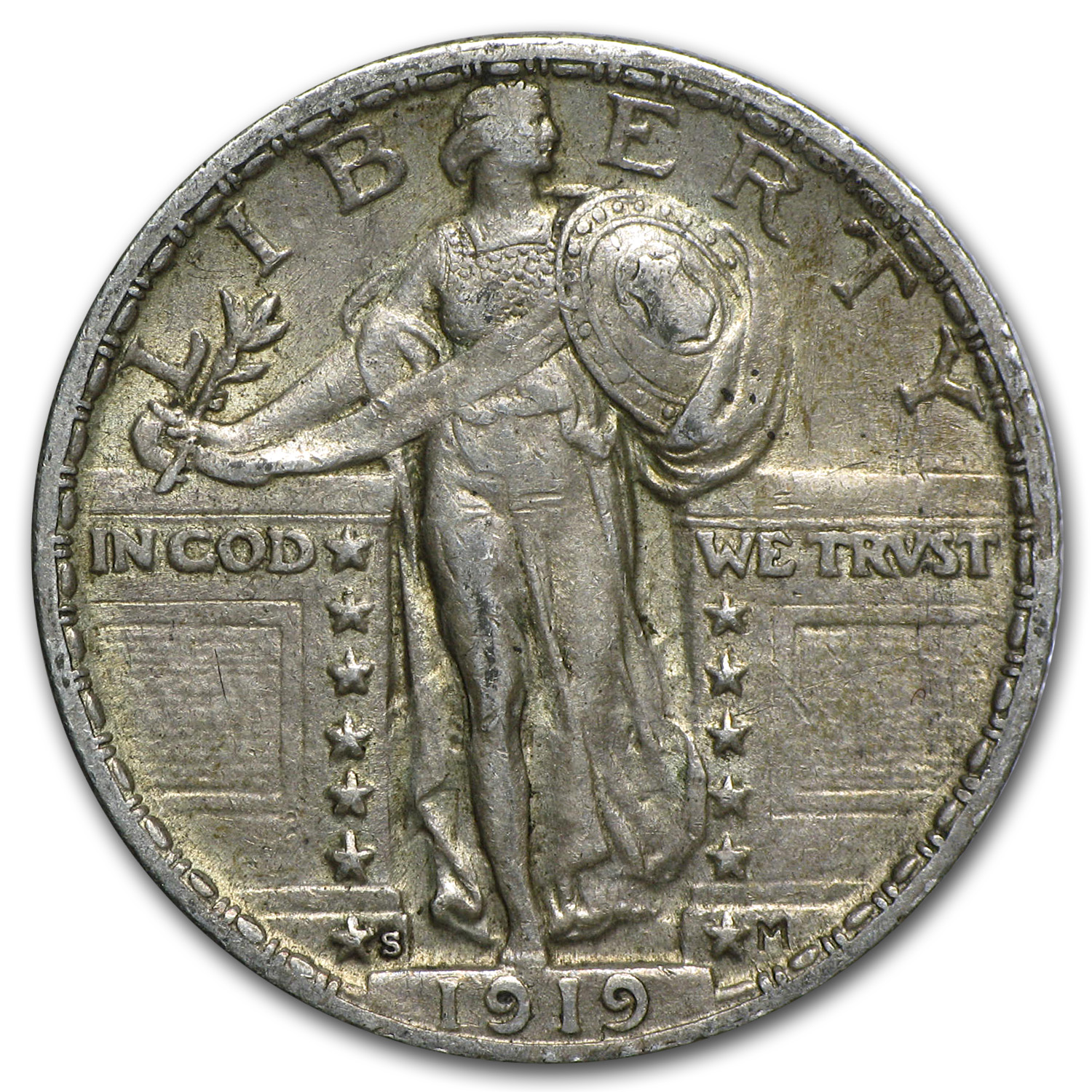 1919-S Standing Liberty Quarter - Almost Uncirculated
