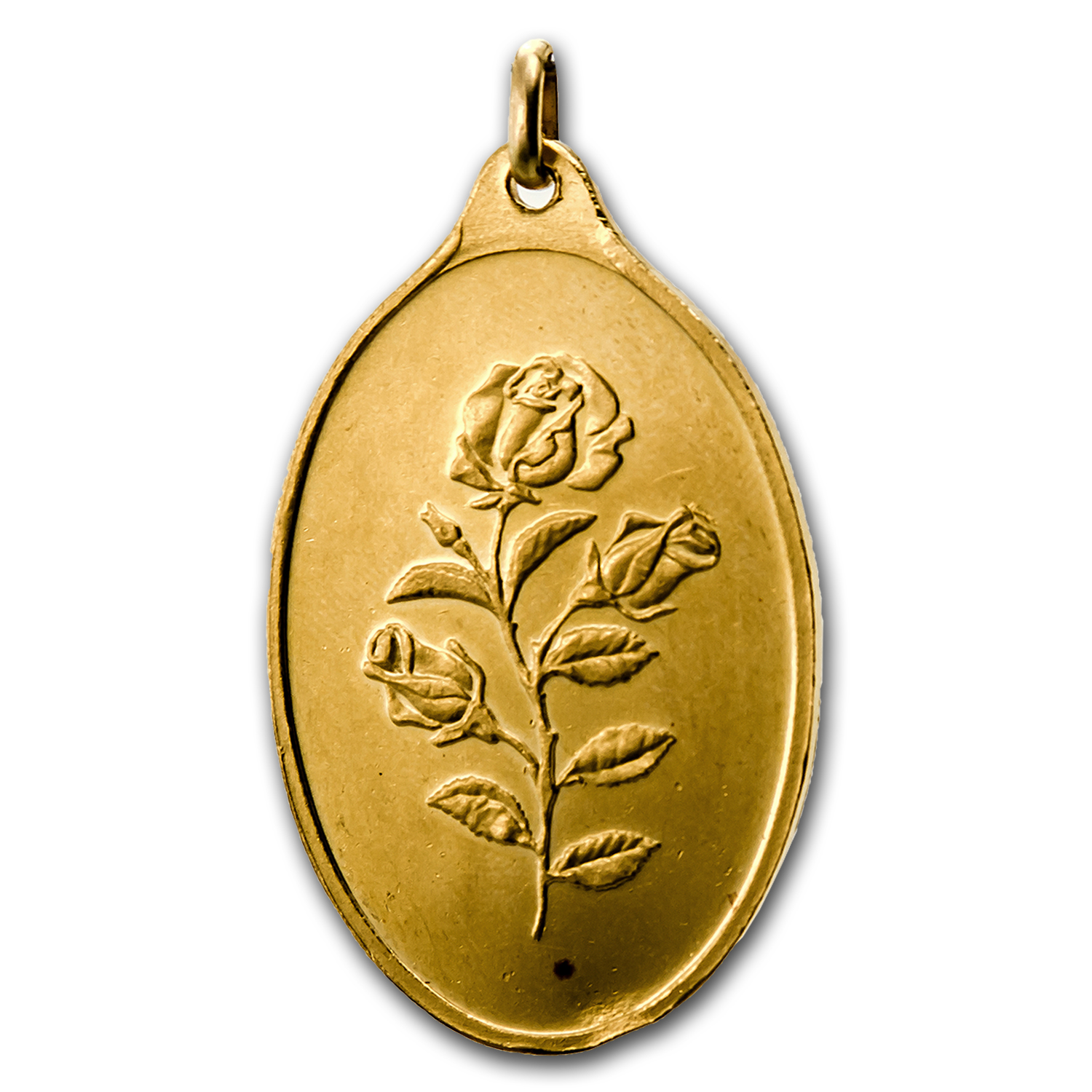 1 oz Gold Pendant - Pamp Suisse (Rose, Oval, Scruffy)