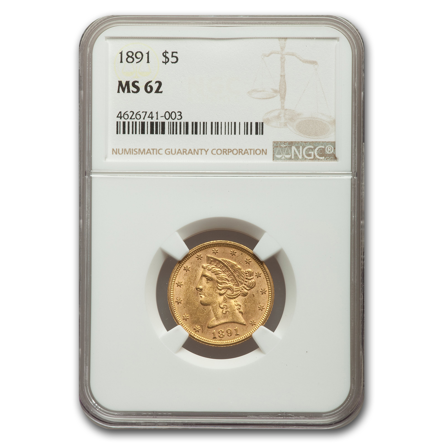 1891 $5 Liberty Gold Half Eagle - MS-62 NGC