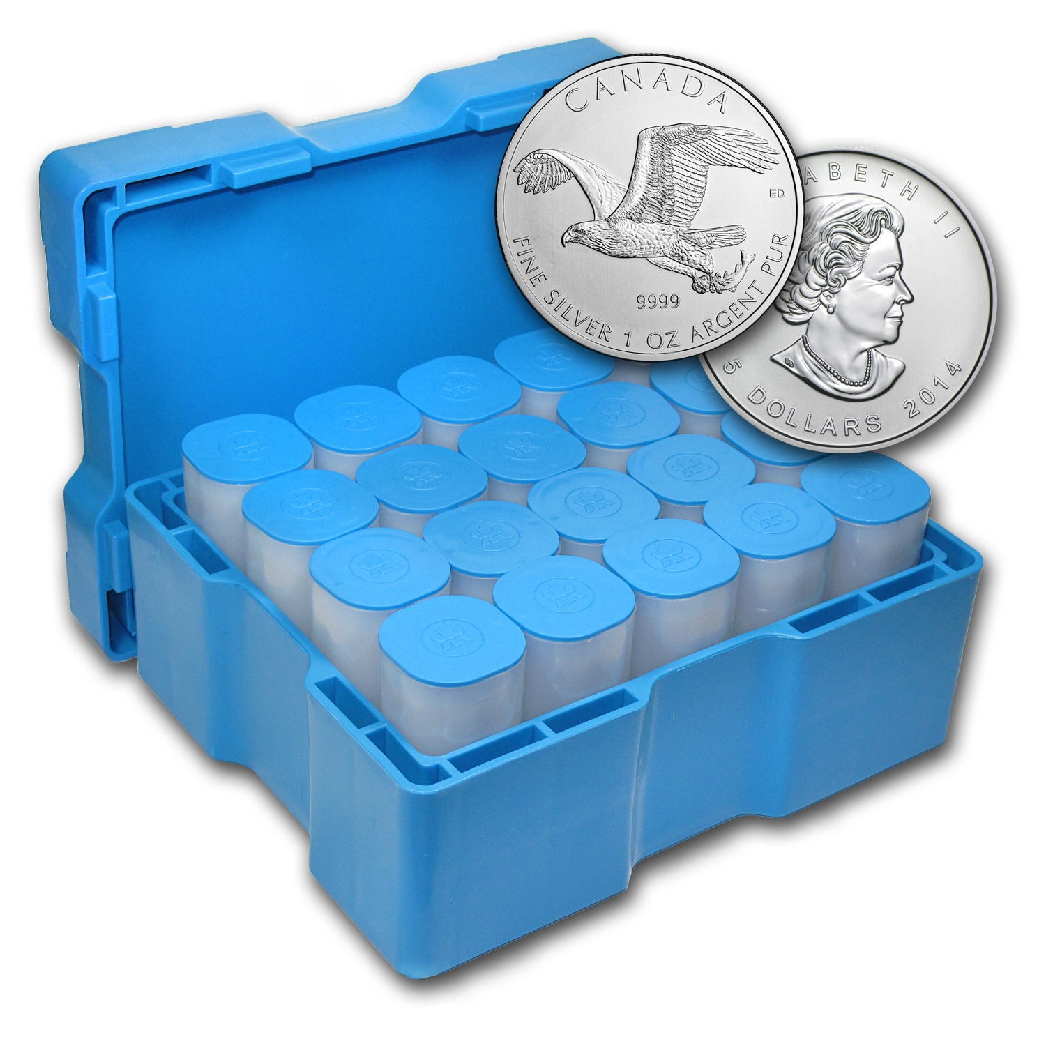 2014 1 oz Silver Bald Eagle 500-Coin Monster Box