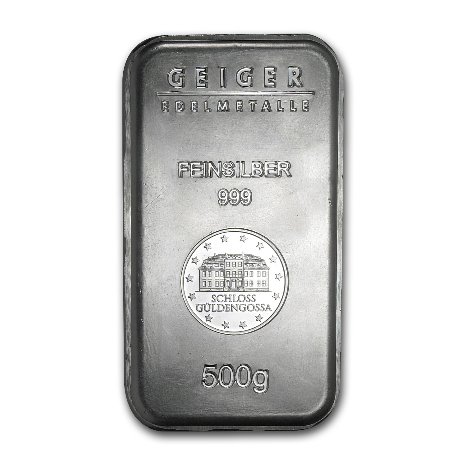 500 gram Silver Bar - Geiger (Security Line Series, Scruffy)