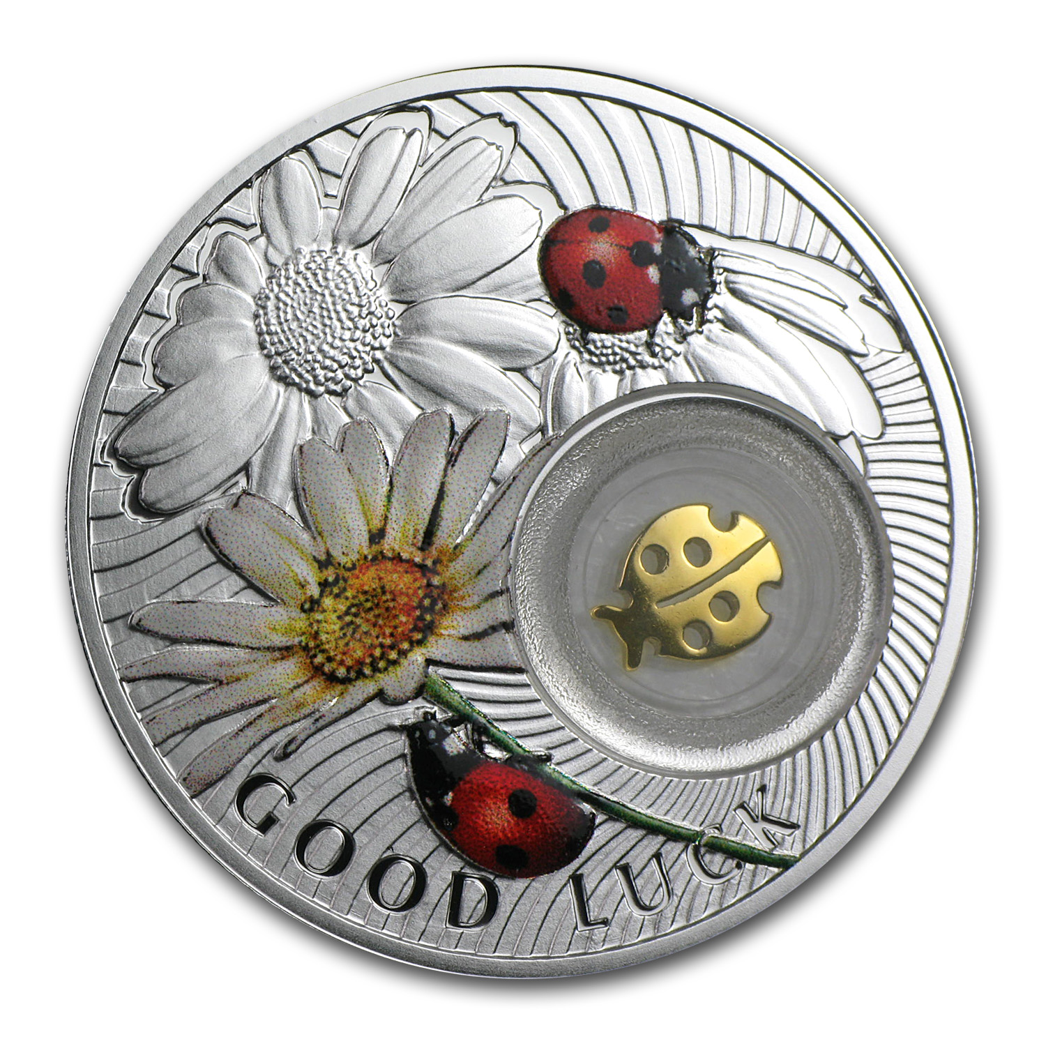 2014 Niue Proof Silver $1 Good Luck Series Ladybird (Ladybug)