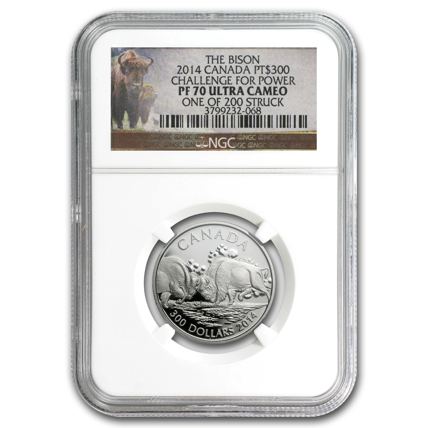 2014 Canada 1 oz Proof Platinum $300 Fighting Bison PF-70 NGC