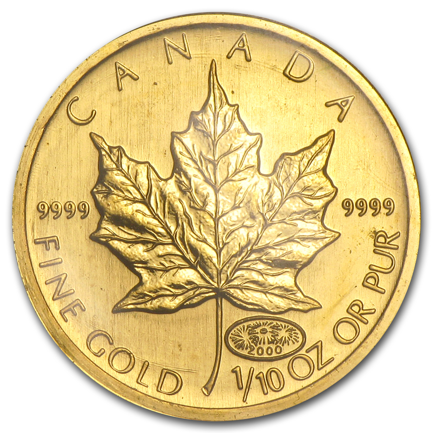 2000 Canada 1 10 Oz Gold Maple Leaf Bu Gold Value