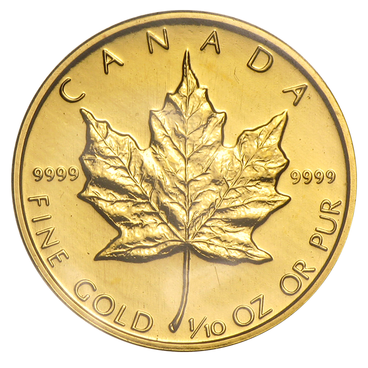 1989 Canada 1/10 oz Gold Maple Leaf BU