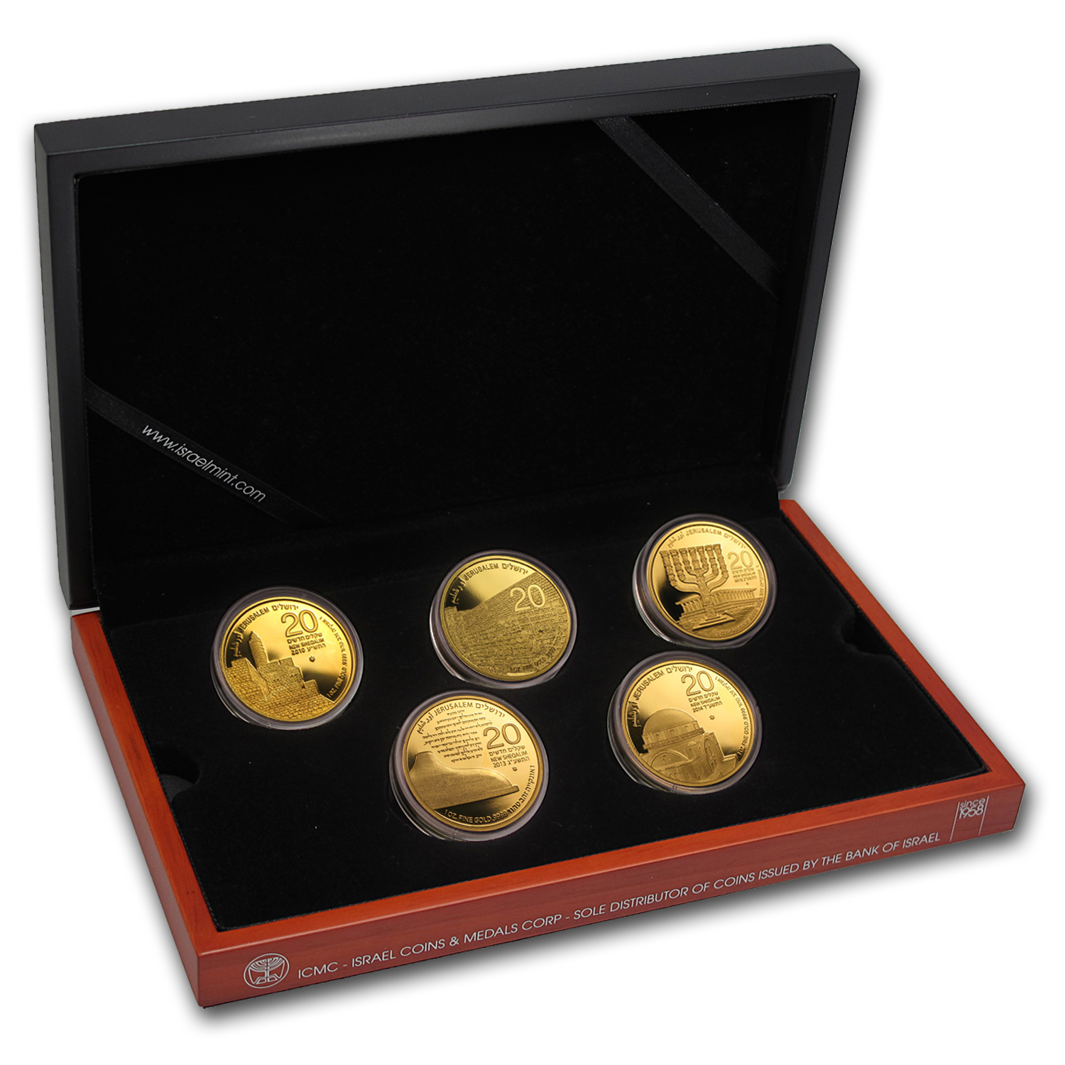 2010-2014 Israel 5-Coin 1 oz Jerusalem of Gold Series Set