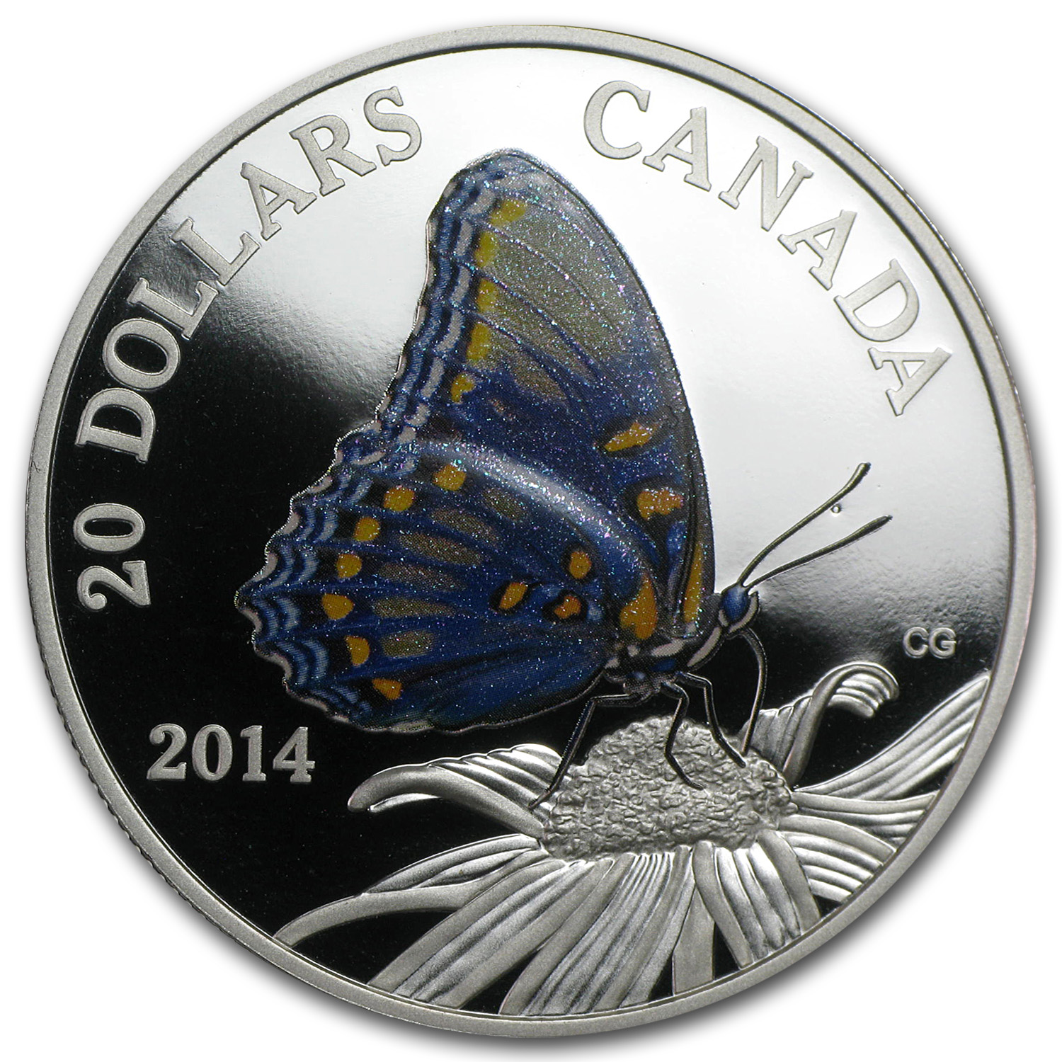 2014 1 oz Silver Can. Butterfly-Red Spotted Purple-Small Abrasion