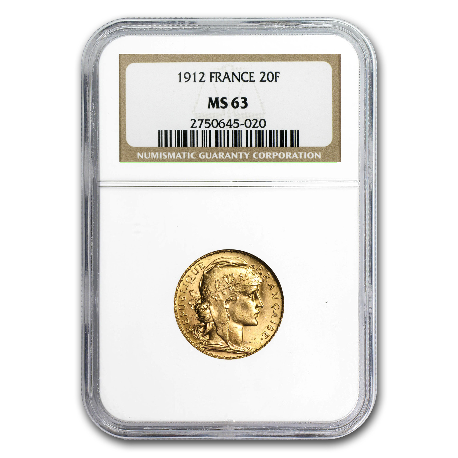 France Gold 20 Francs Rooster MS-63 NGC