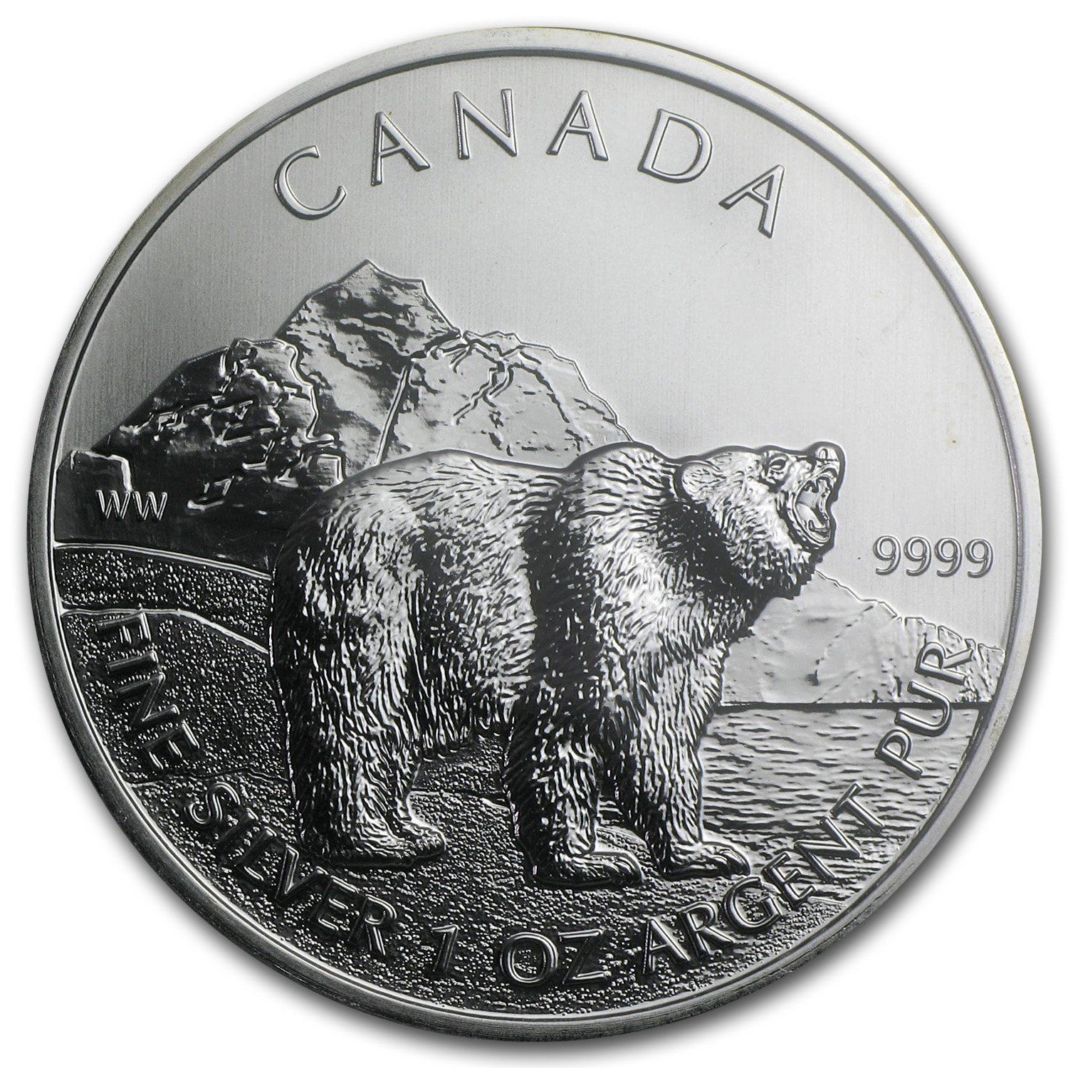 2011 Canada 1 oz Silver Wildlife Series Grizzly MS-68 PCGS