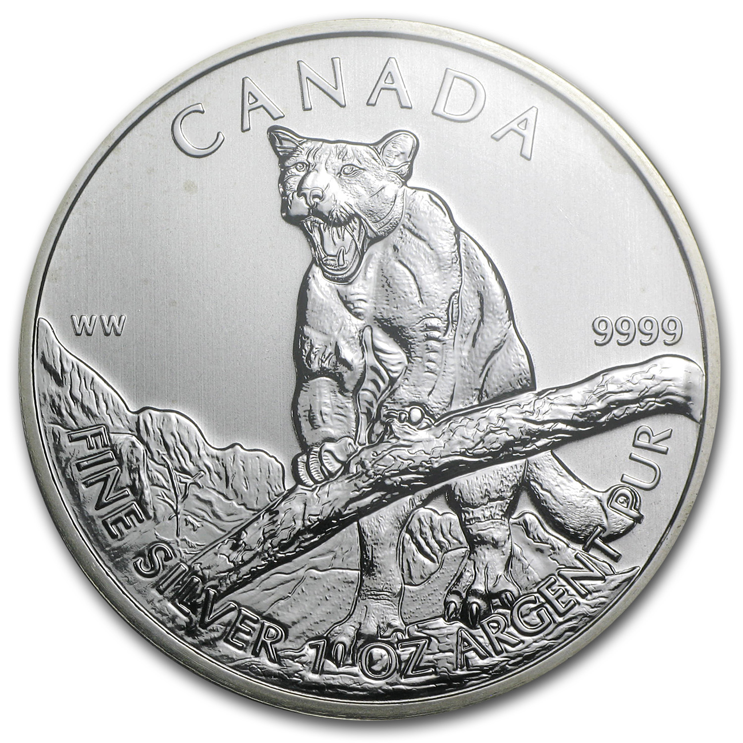 2012 1 oz Silver Canadian Wildlife Series Cougar MS-68 PCGS