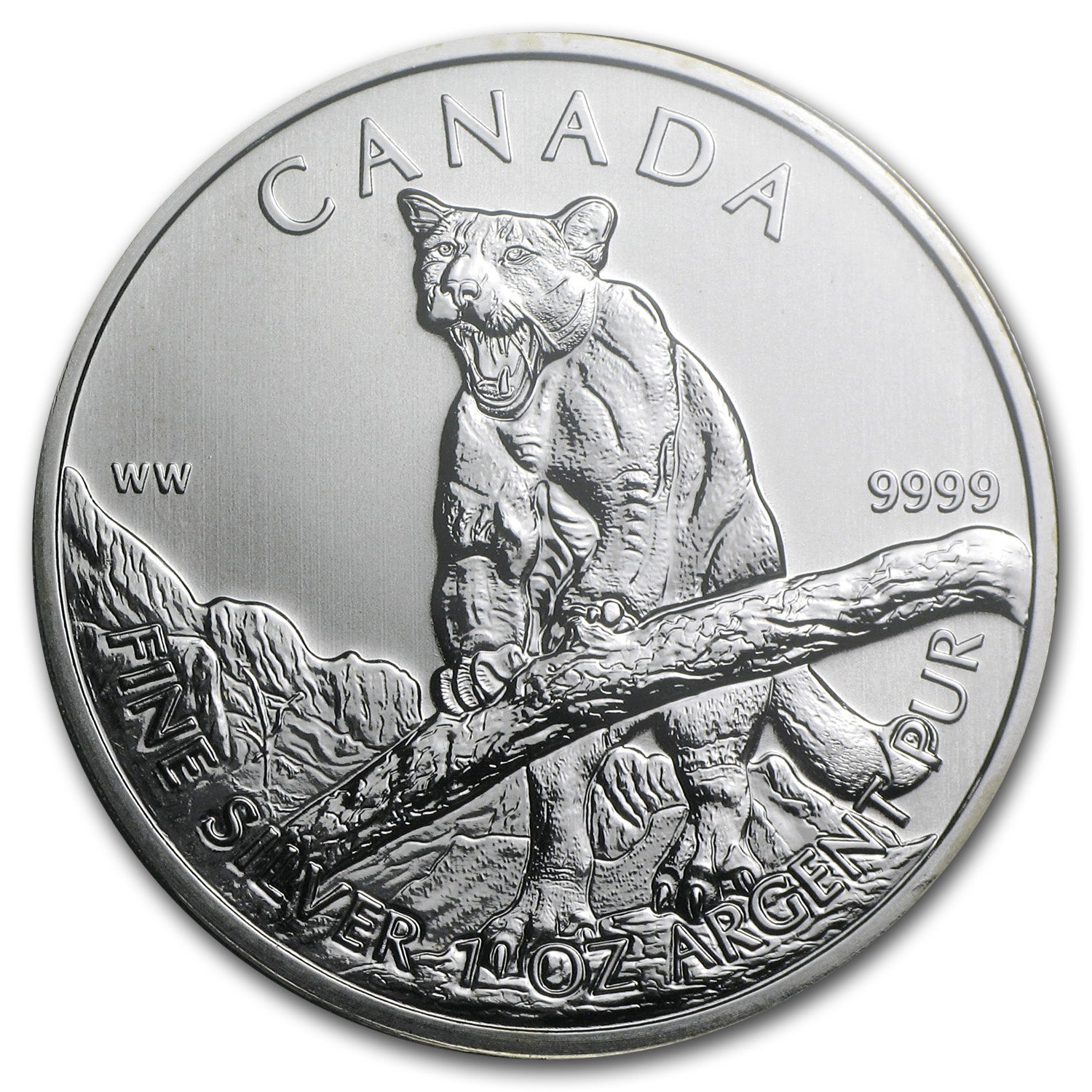2012 1 oz Silver Canadian Wildlife Series Cougar MS-69 PCGS