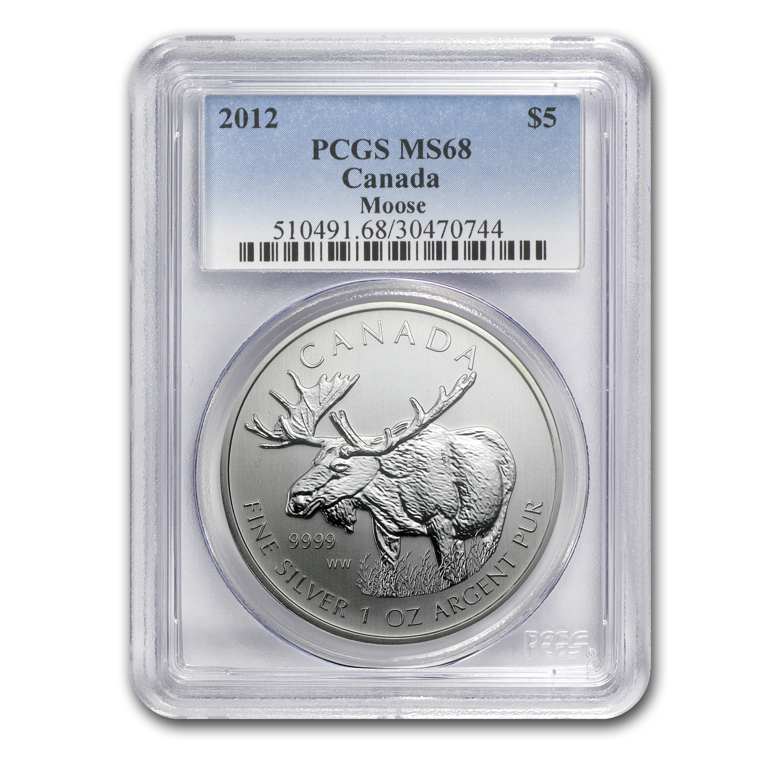 2012 Canada 1 oz Silver Wildlife Series Moose MS-68 PCGS