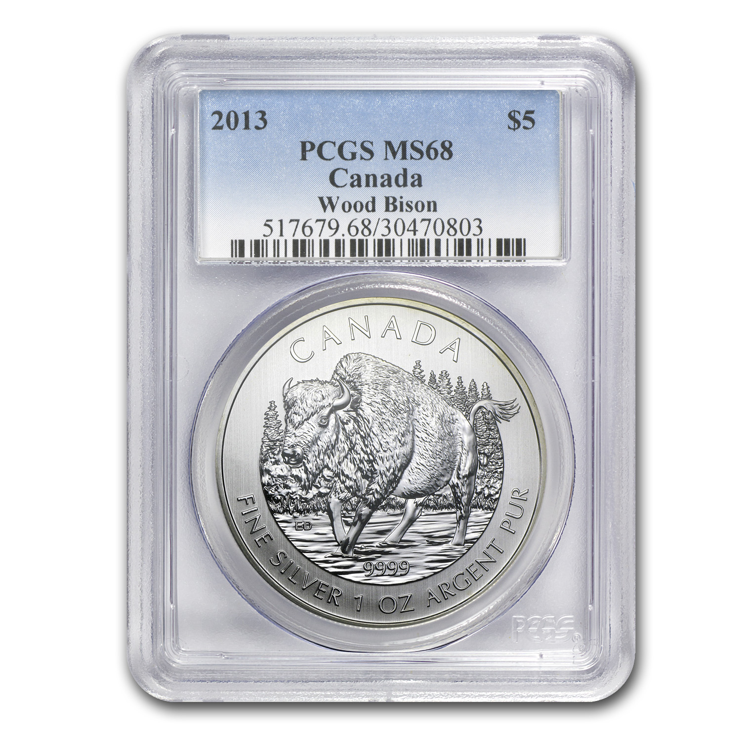 2013 Canada 1 oz Silver Wildlife Series Wood Bison MS-68 PCGS