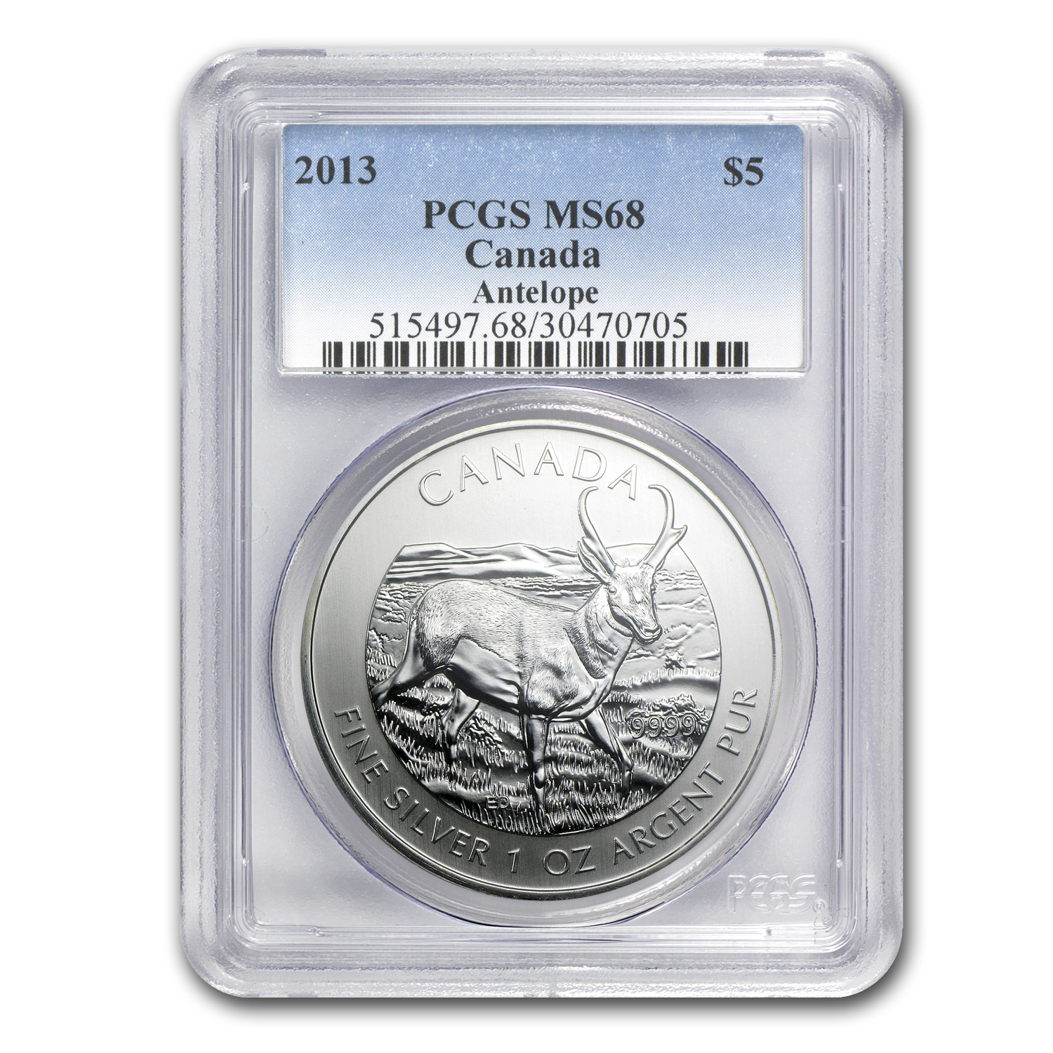 2013 Canada 1 oz Silver Wildlife Series Antelope MS-68 PCGS