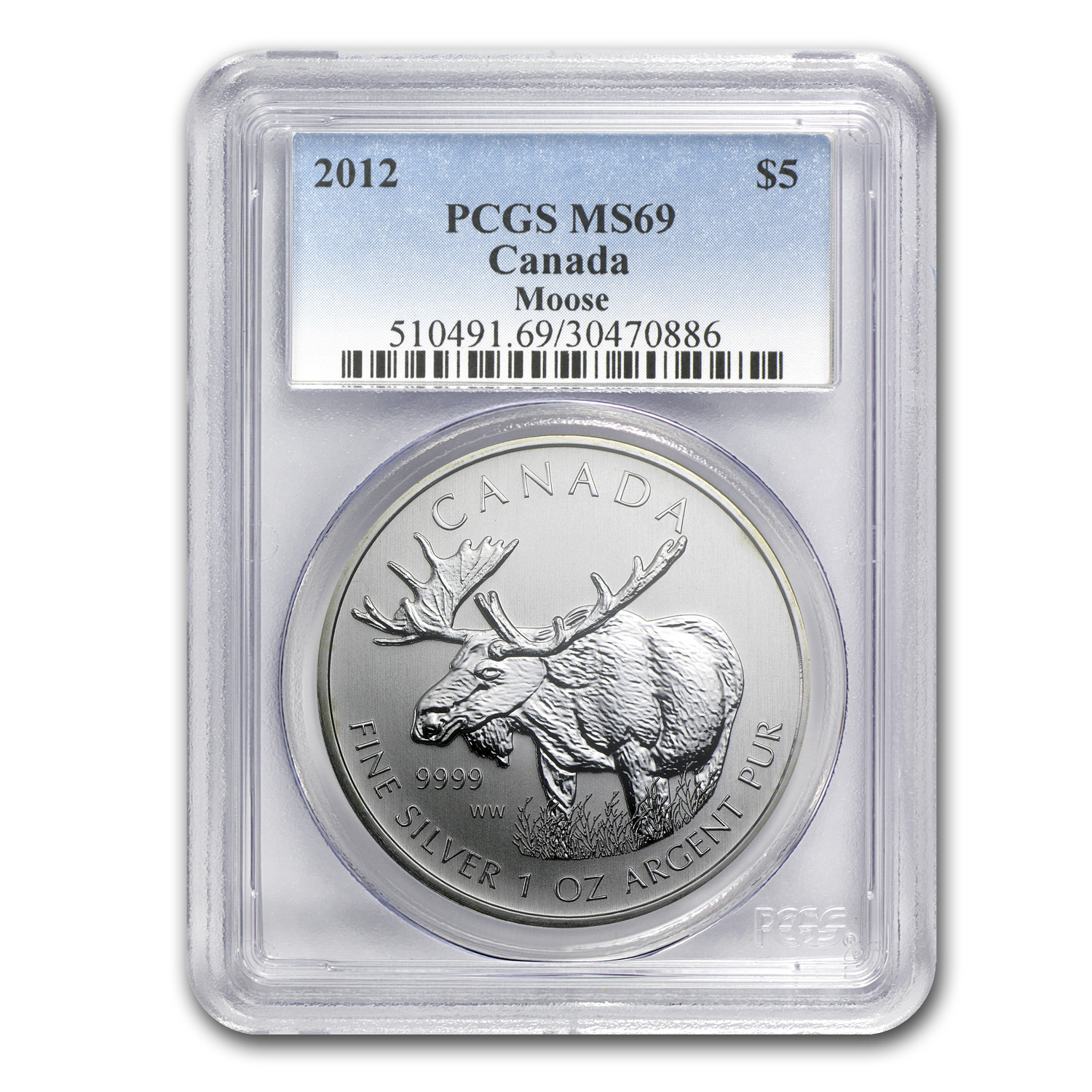 2012 Canada 1 oz Silver Wildlife Series Moose MS-69 PCGS