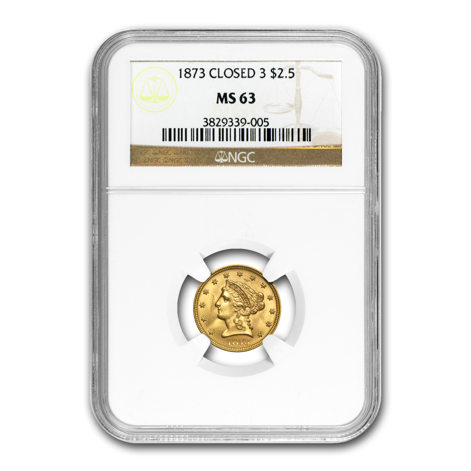1873 $2.50 Liberty Gold Quarter Eagle - Closed 3 - MS-63 NGC