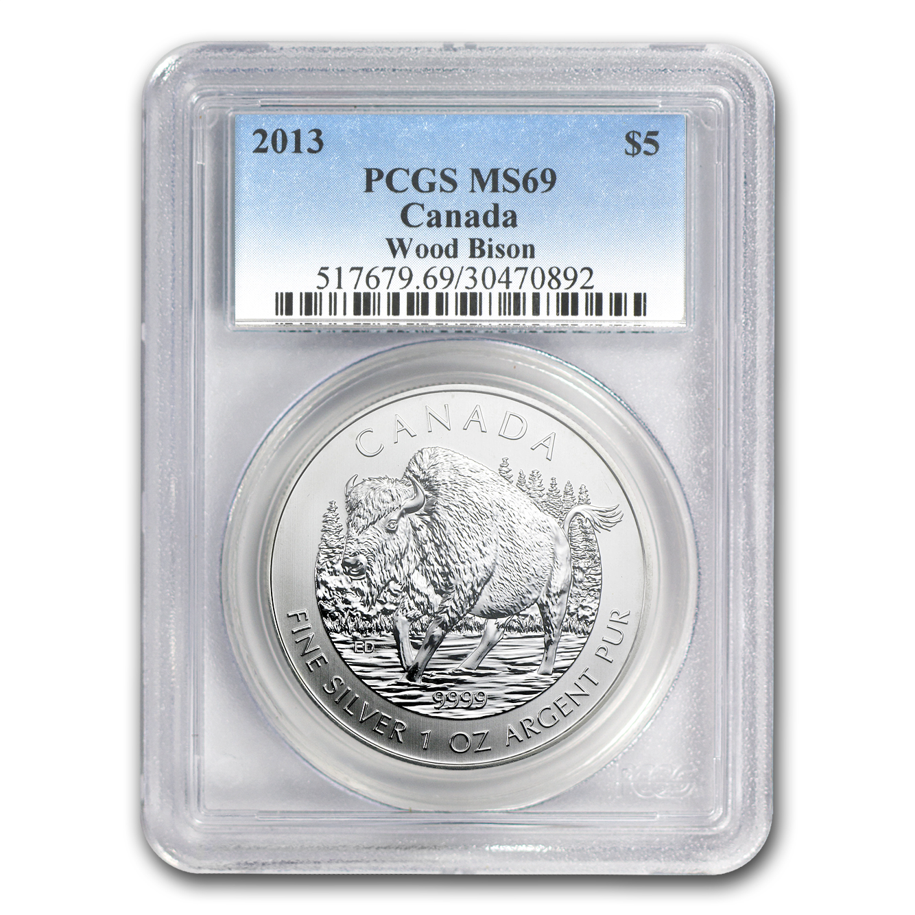 2013 Canada 1 oz Silver Wildlife Series Wood Bison MS-69 PCGS