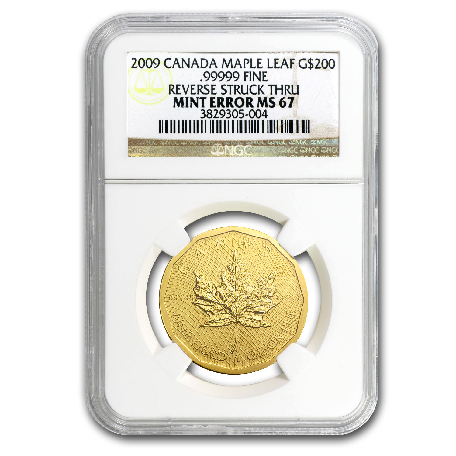 2009 1 oz Gold Canadian Maple Leaf MS-67 NGC (.99999, Mint Error)