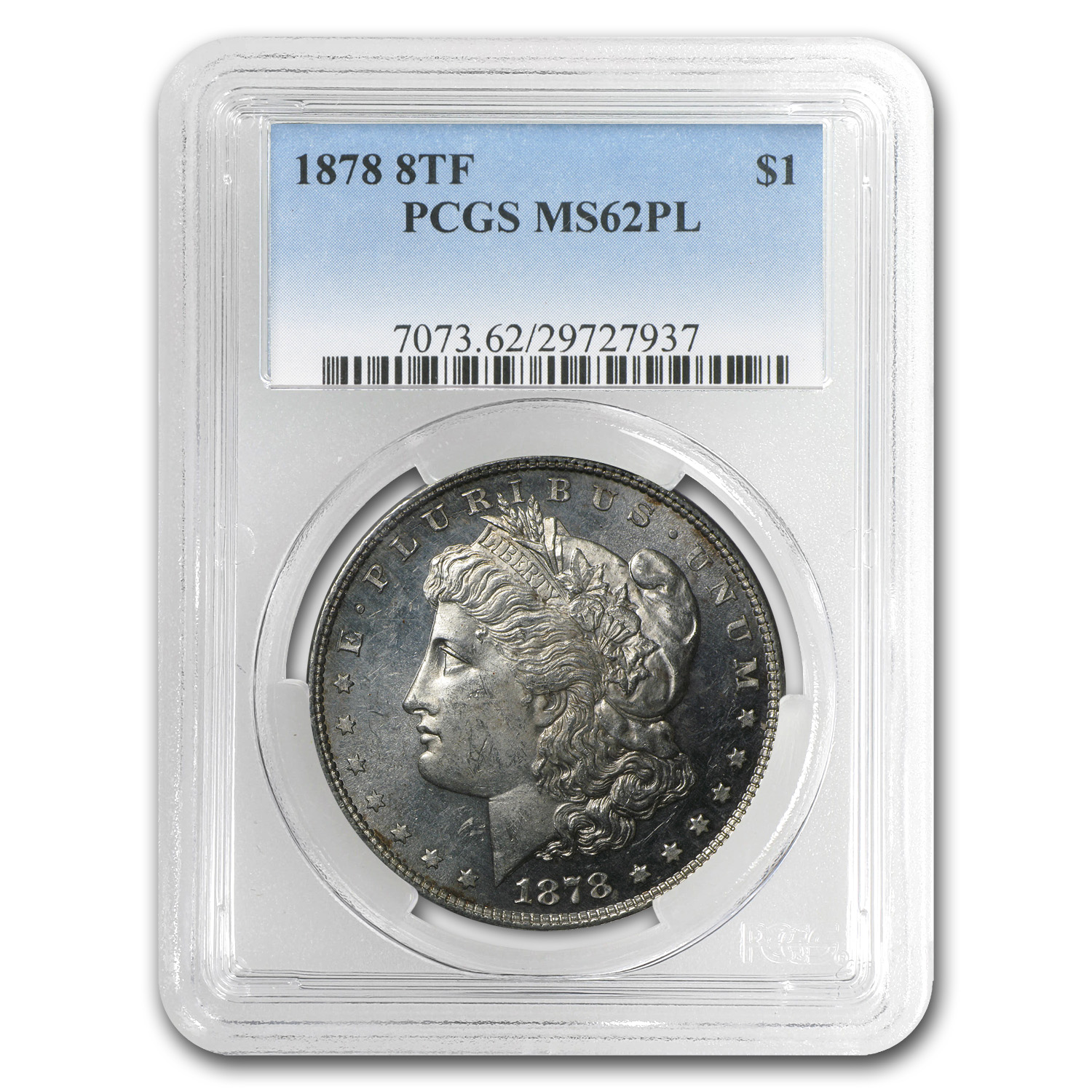 1878 Morgan Dollar 8 Tailfeathers MS-62 PL PCGS
