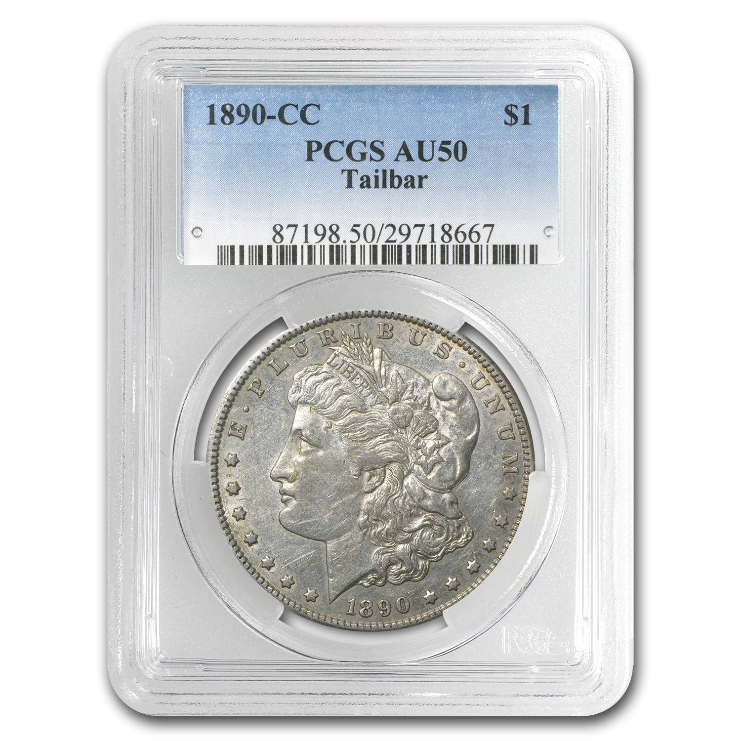 1890-CC Morgan Dollar AU-50 PCGS (Tailbar, Top-100)