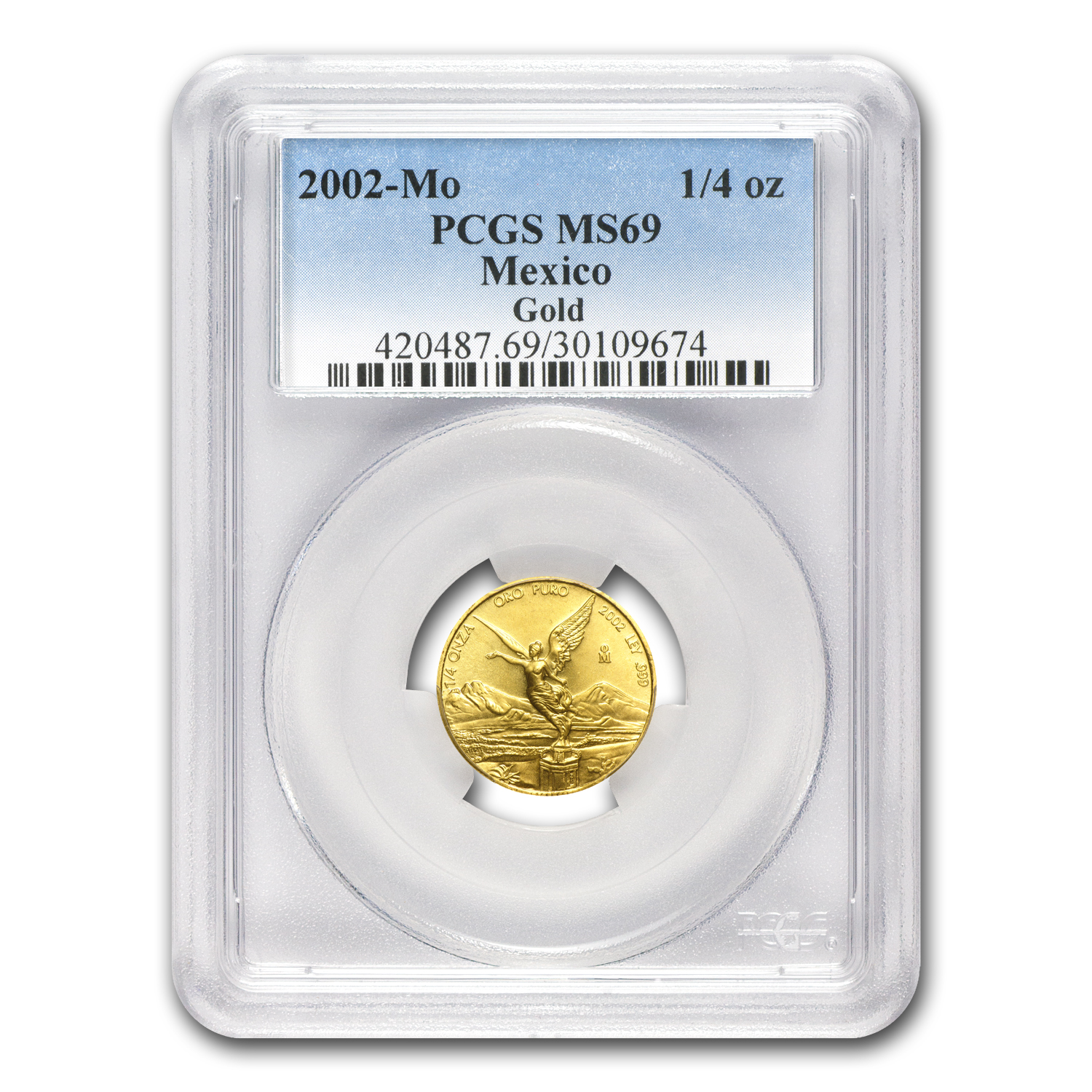 2002 Mexico 1/4 oz Gold Libertad MS-69 PCGS