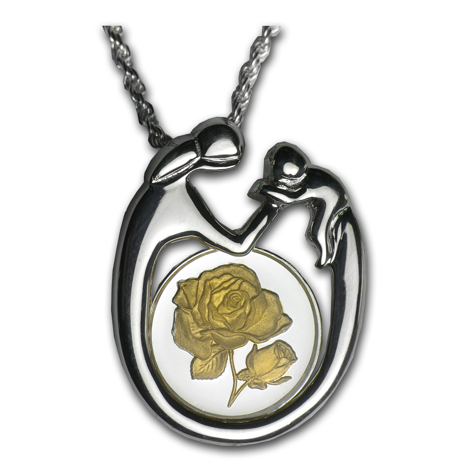 Sterling Silver Mother & Child Rose Gilded Necklace