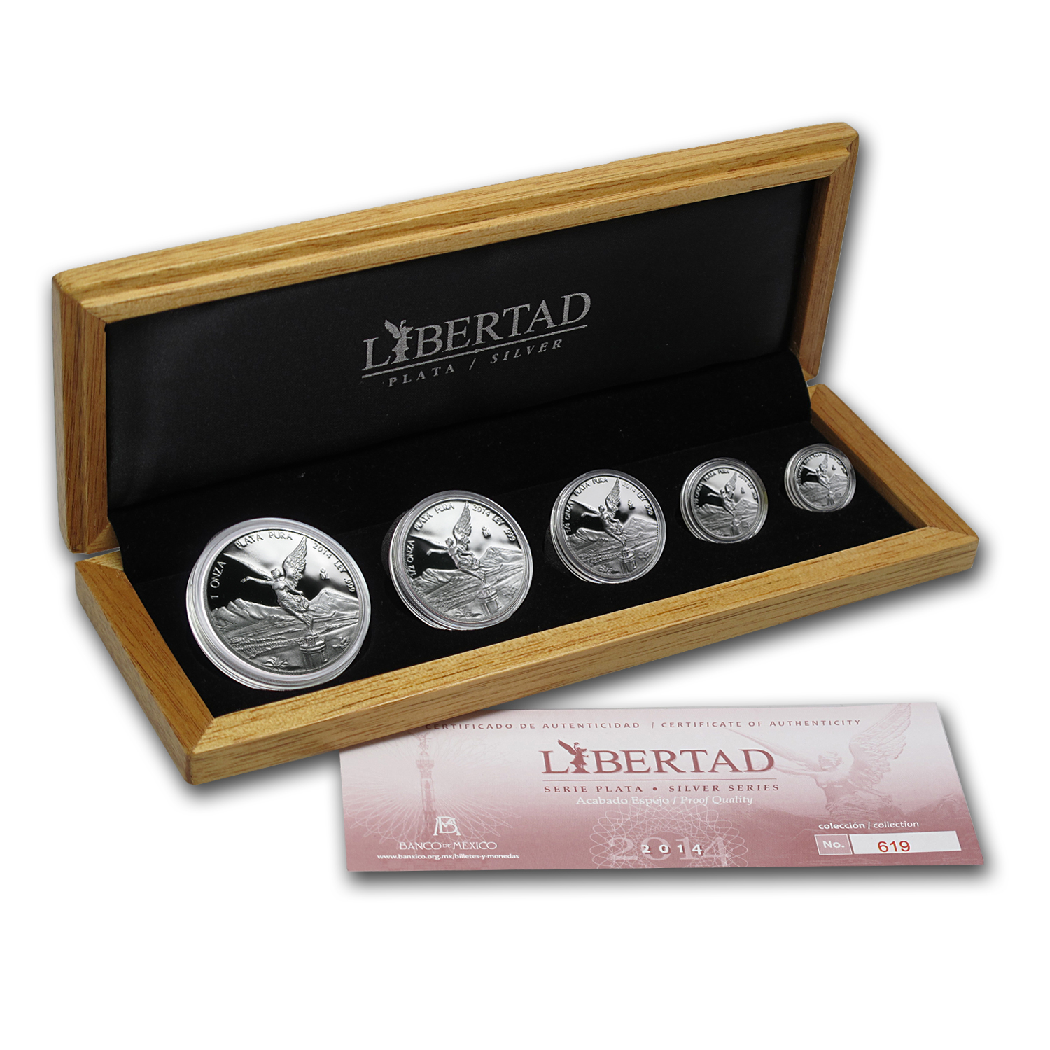 2014 Mexico 5-Coin Silver Libertad Proof Set (1.9 oz, Wood Box)