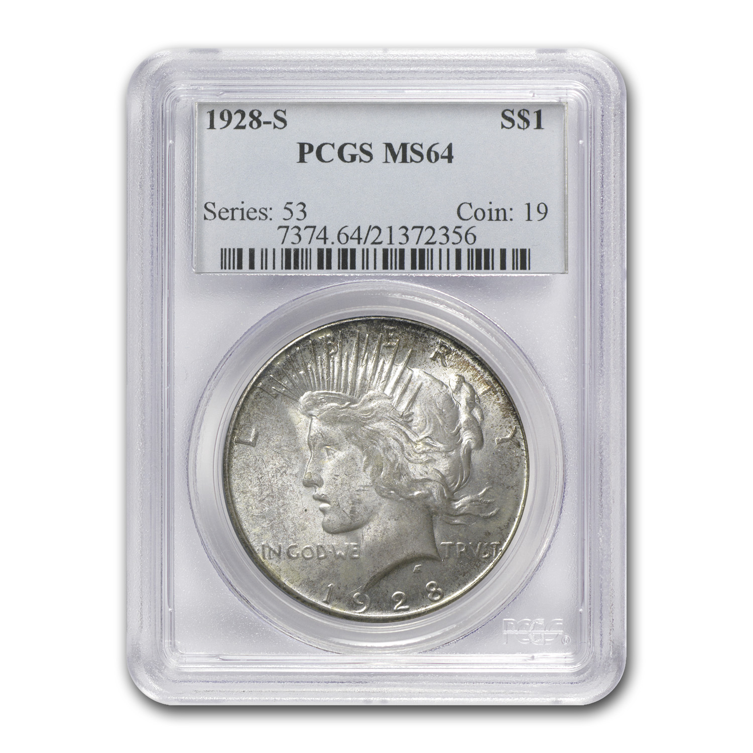 1928-S Peace Dollar MS-64 PCGS Light Toning