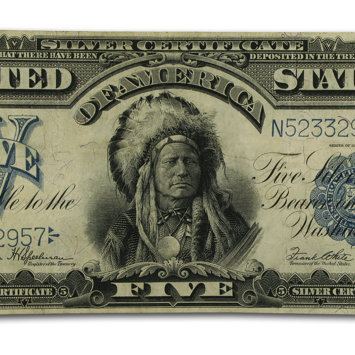 "1899 $5 Silver Certificate ""Chief"" AU Details"