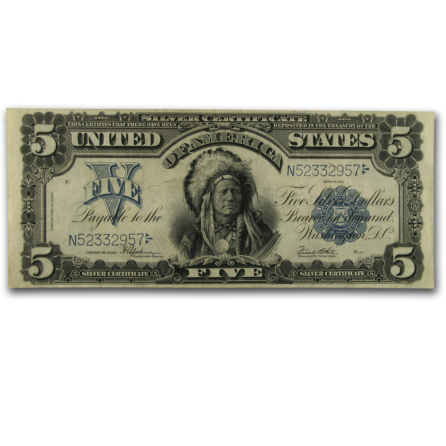 1899 $5.00 Silver Certificate Chief Running Antelope AU Details