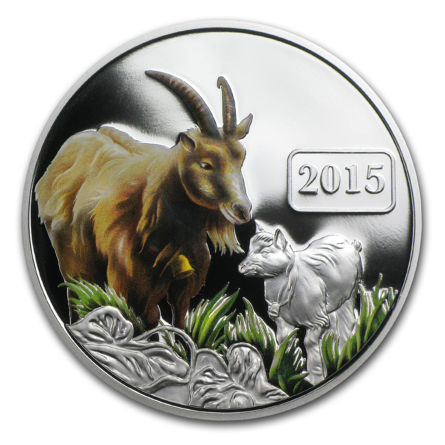 2015 Tokelau 1 oz Silver $5 Year of the Goat Proof (Colorized)