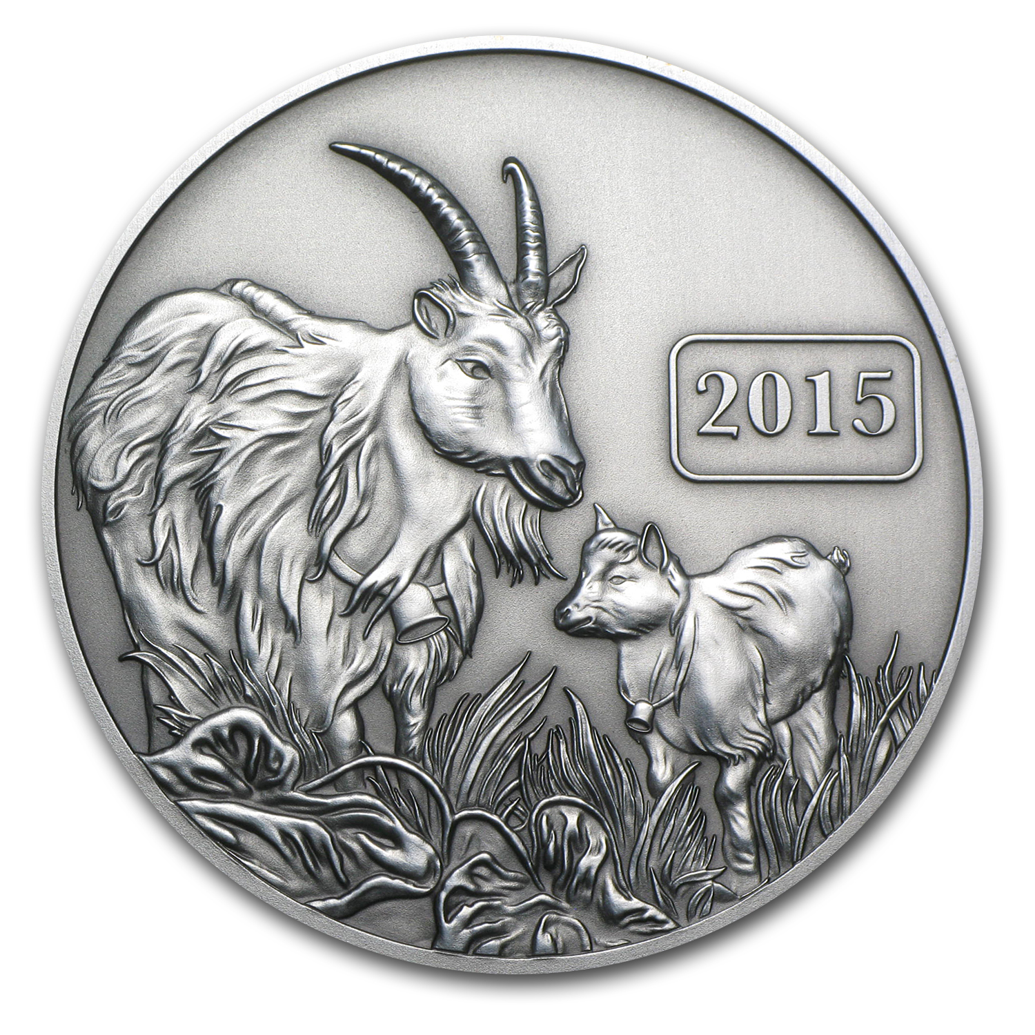 2015 Tokelau 1 oz Silver $5 Year of the Goat (Antique Finish)