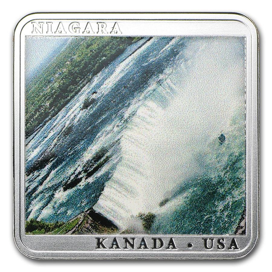 2014 Niue Silver Niagara Waterfall Square Coin Proof