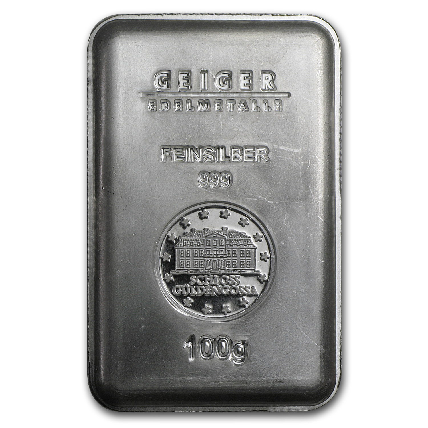100 gram Silver Bar - Geiger (Security Line Series, Scruffy)
