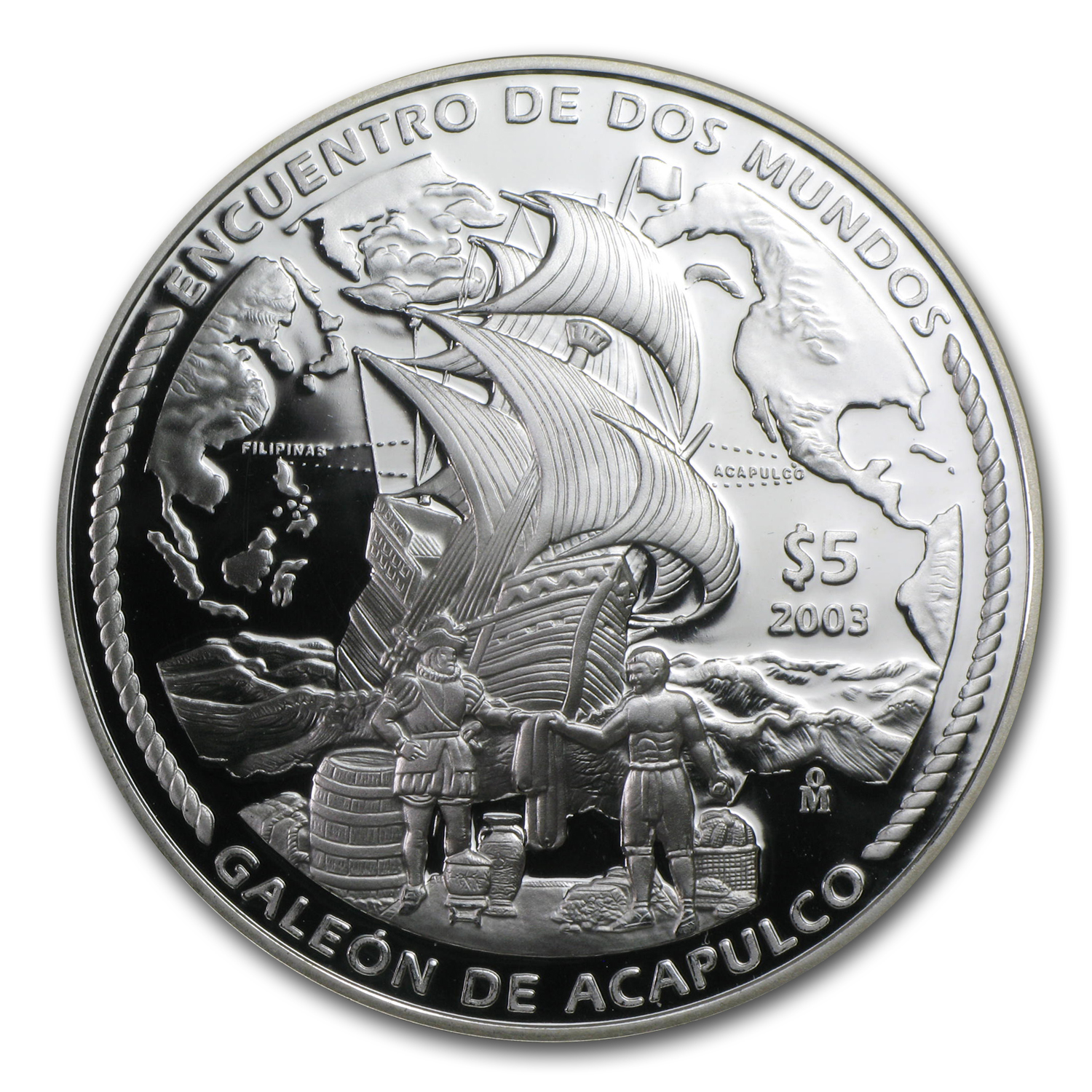 2003 Mexico Silver Peso $5 Acapulco Galleon Proof