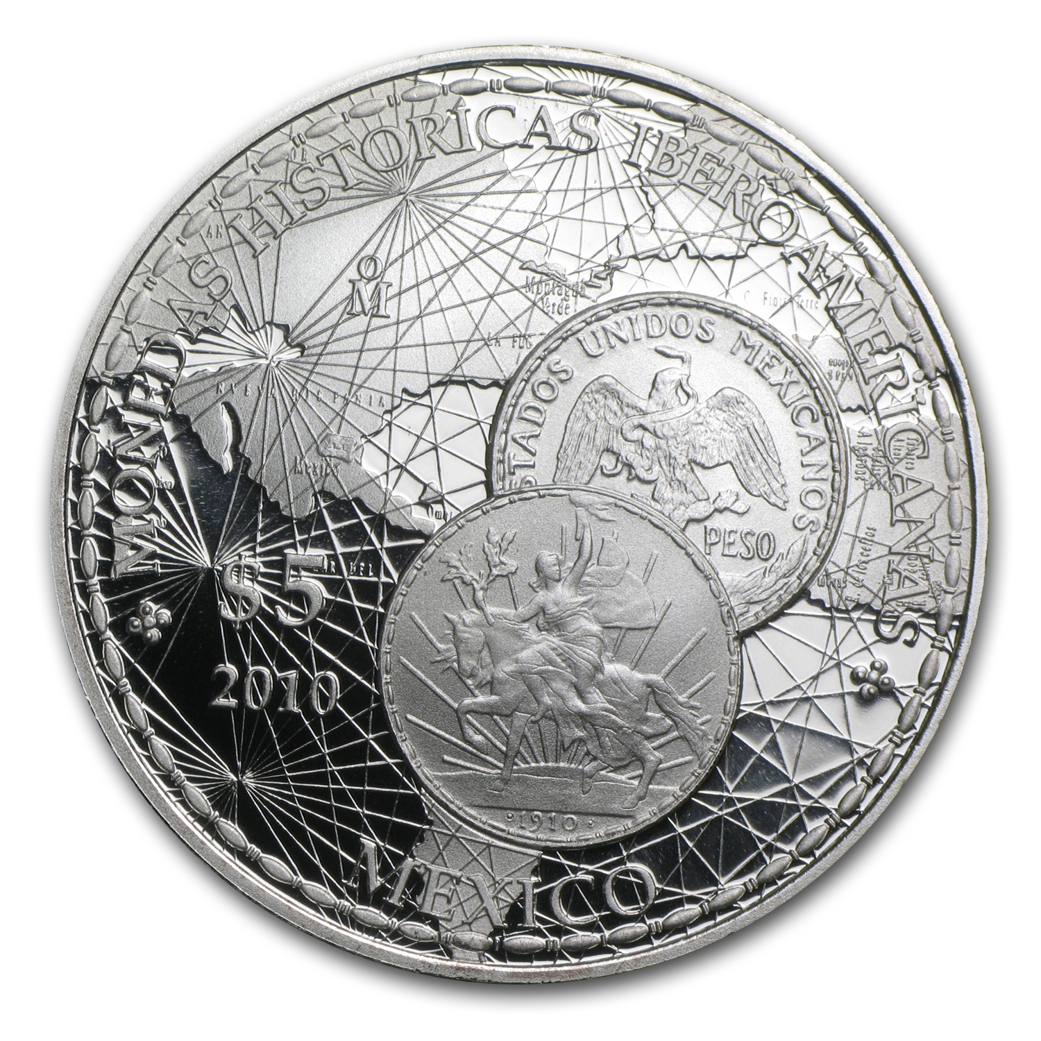 2010 $5.00 Iberoamerican History Coin Mexican Silver Peso Proof
