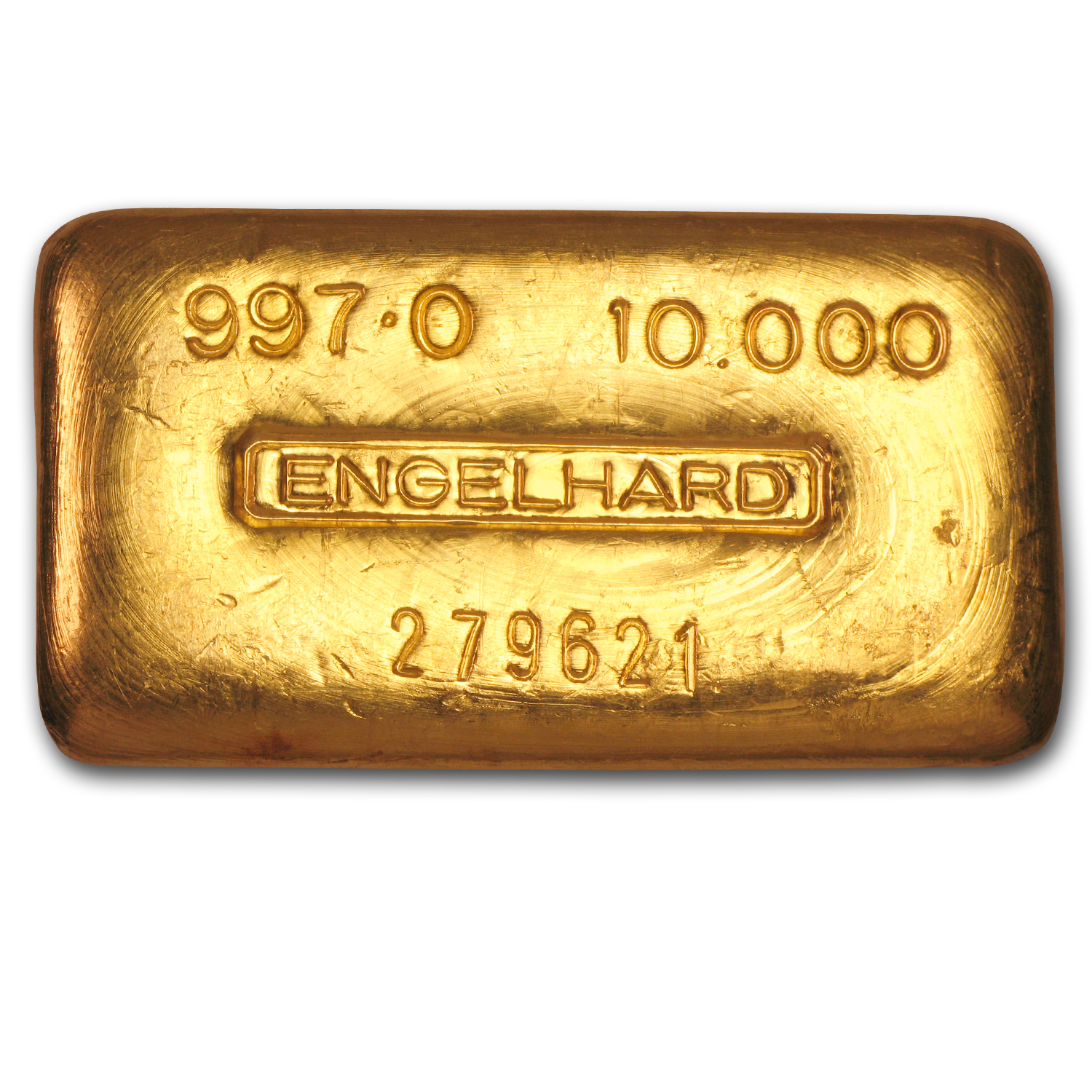 10 oz Gold Bars - Engelhard (Loaf-Style/Poured, 997 Fine)