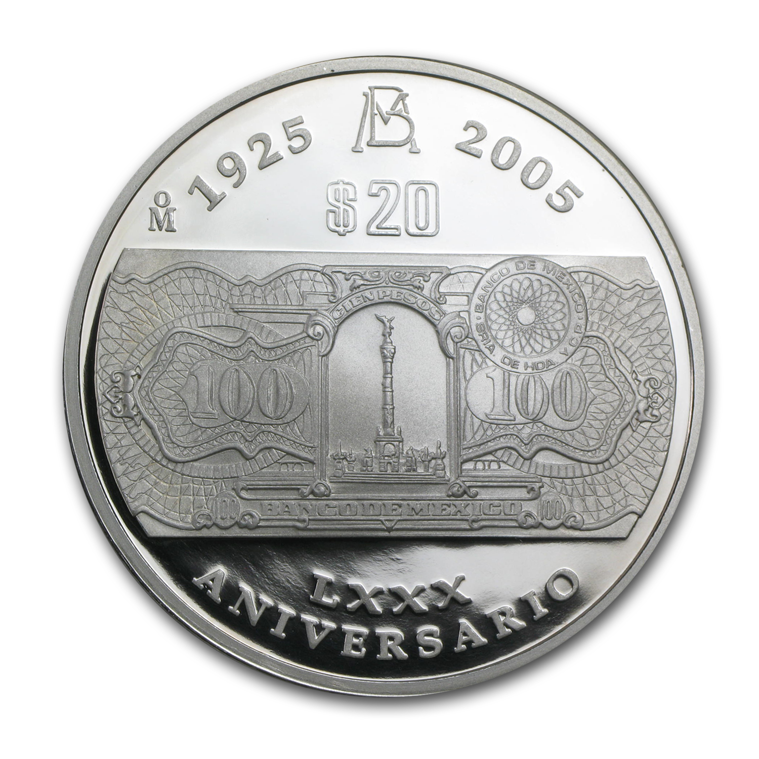 2005 Banco de México 2 oz Silver $20 Peso Proof (80th Anniv)