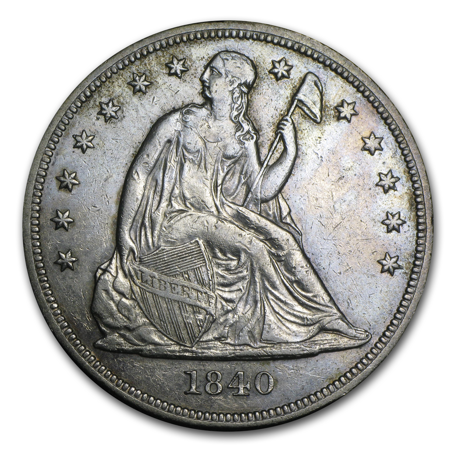 1840 Liberty Seated Dollar AU