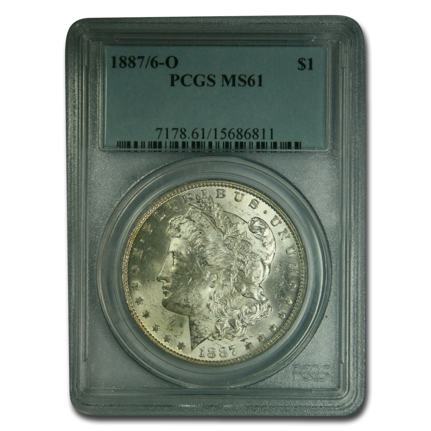 1887/6-O Morgan Dollar MS-61 PCGS (VAM-3, Overdate Top-100)