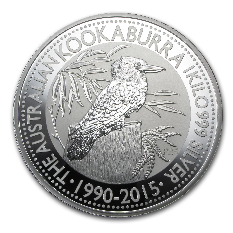 Kilo Silvers: 2015 Australia 1 Kilo Silver Kookaburra BU