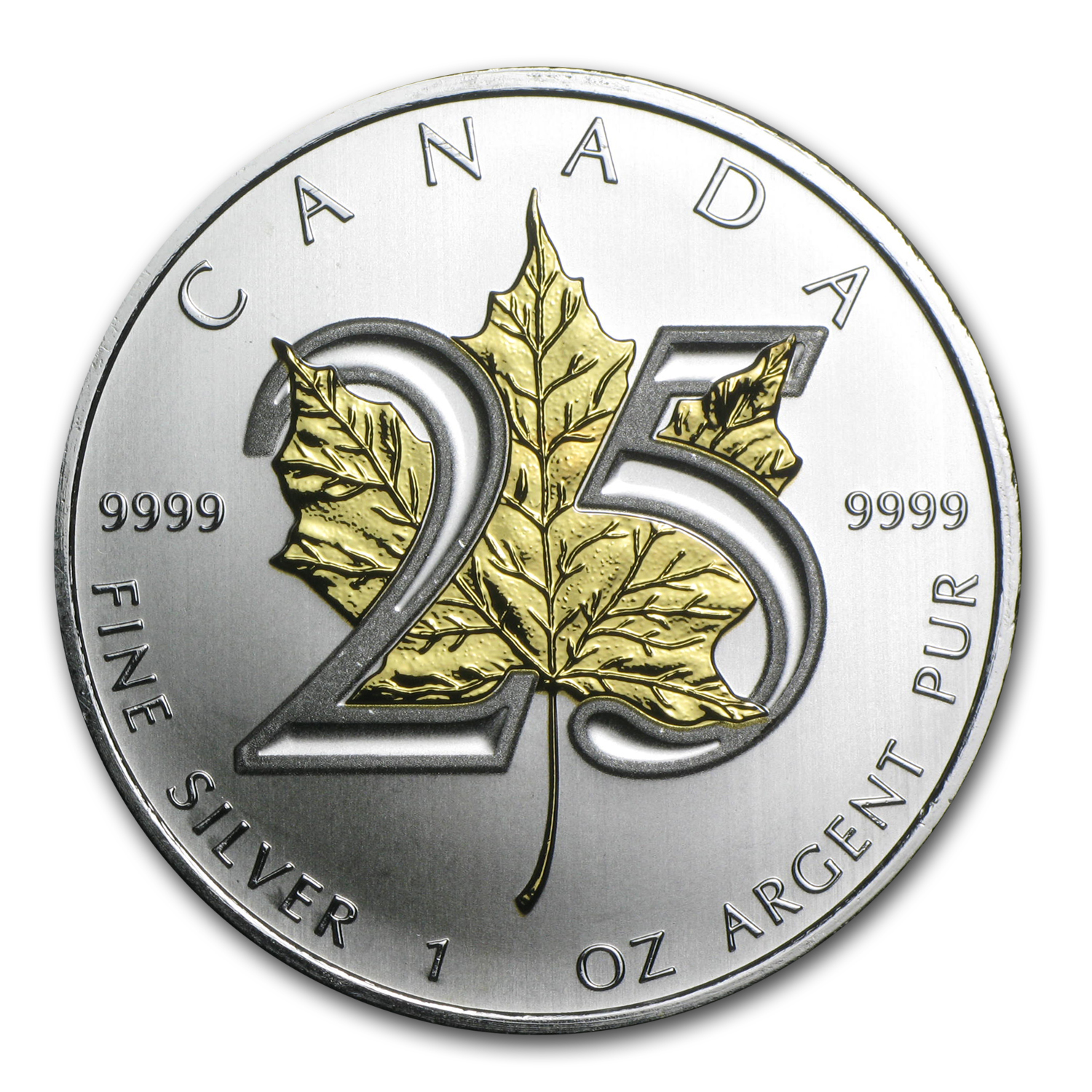 2013 1 oz Silver Canadian Maple Leaf (25th Anniv, Gilded Leaf)