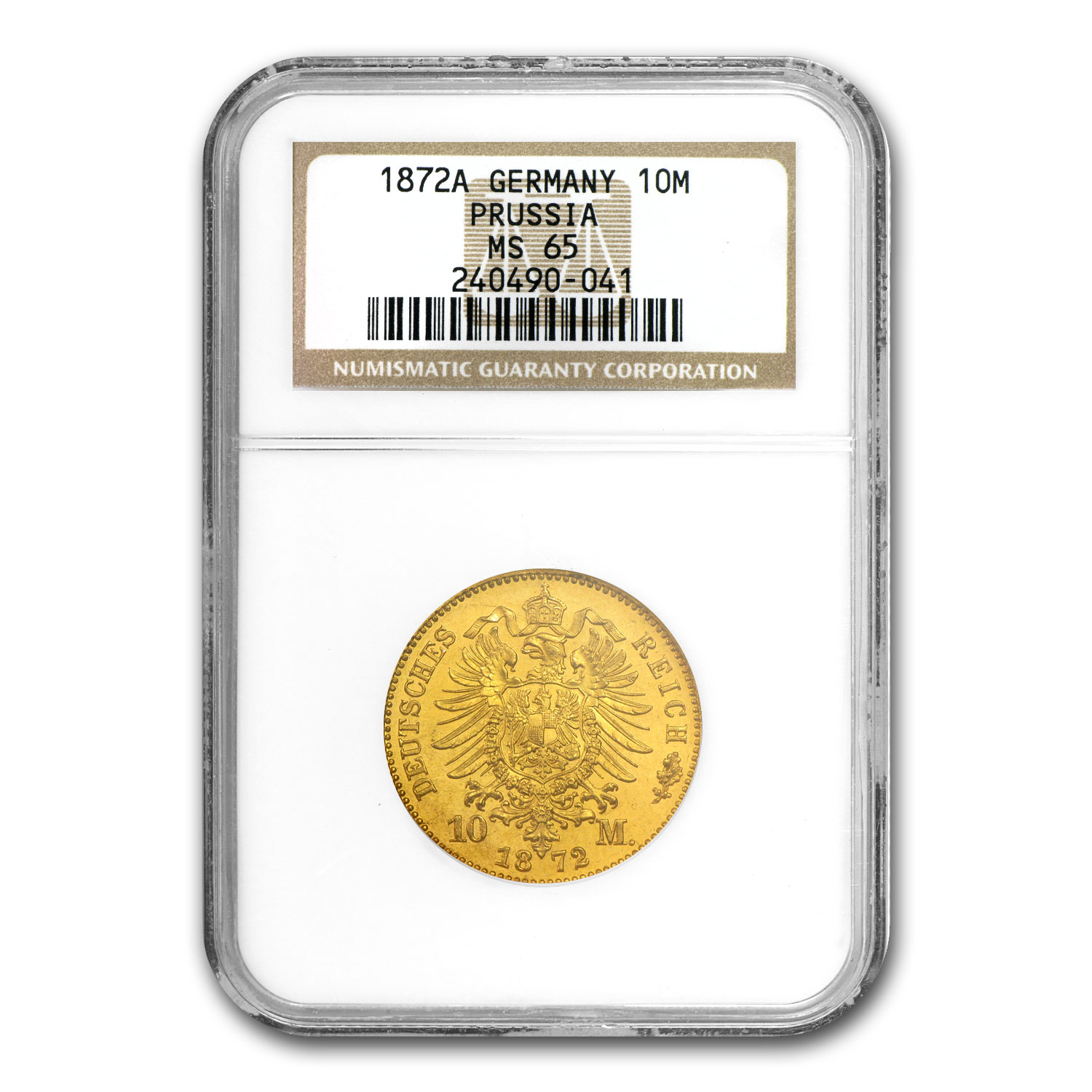 Germany 1872-1873 Gold 10 Marks Prussia MS-65 NGC