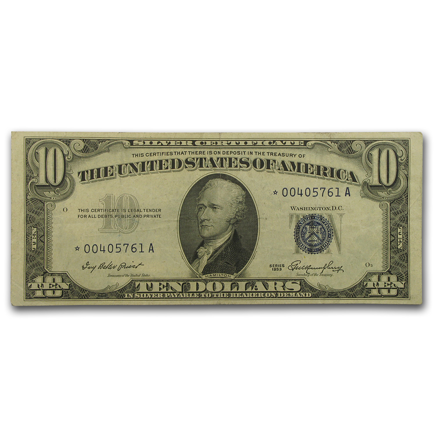 1953* $10 Silver Certificate VF (Star Note)