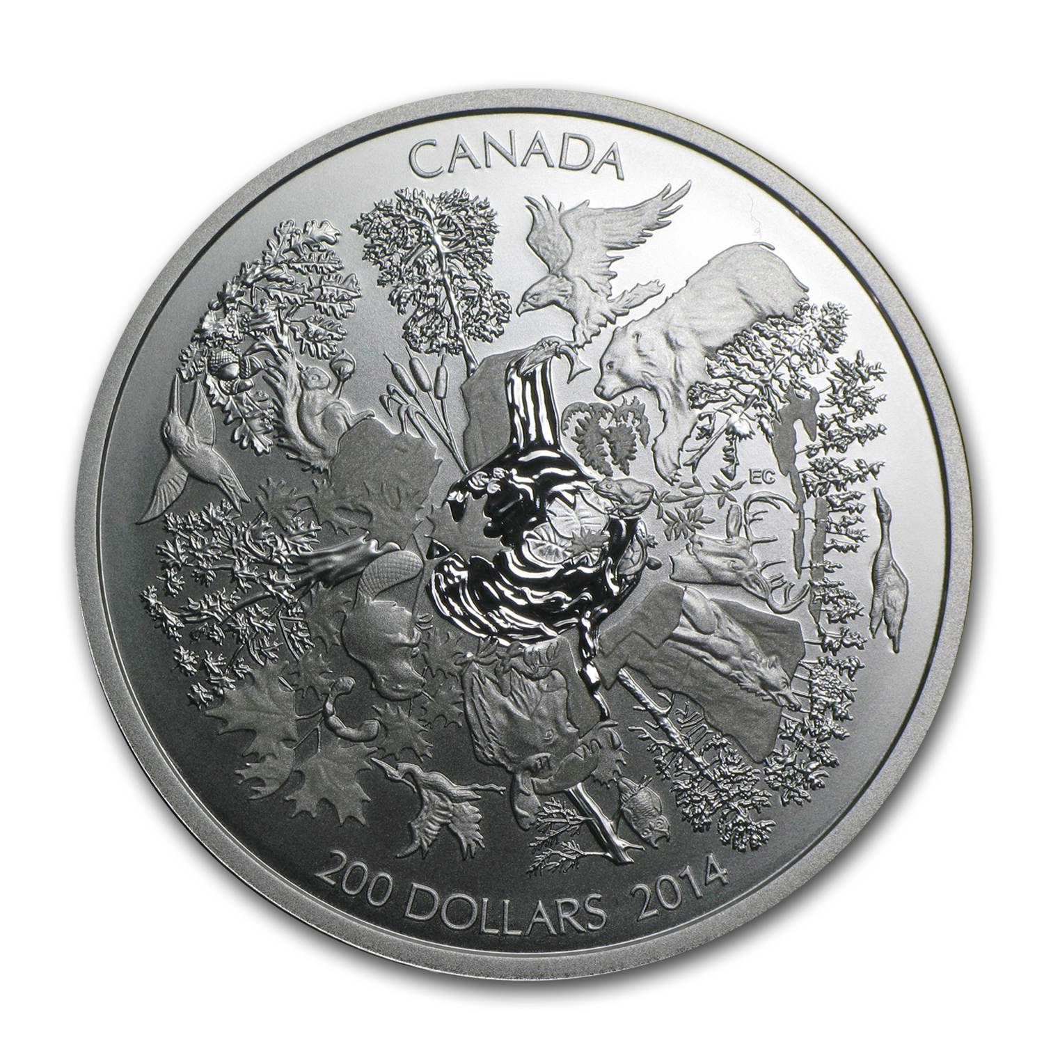2014 2 oz Silver Canadian $200 Coin Towering Forests of Canada