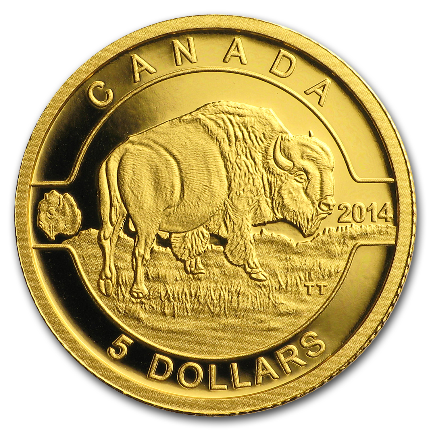 2014 Canada 1/10 oz Proof Gold $5 Bison (w/out Box)