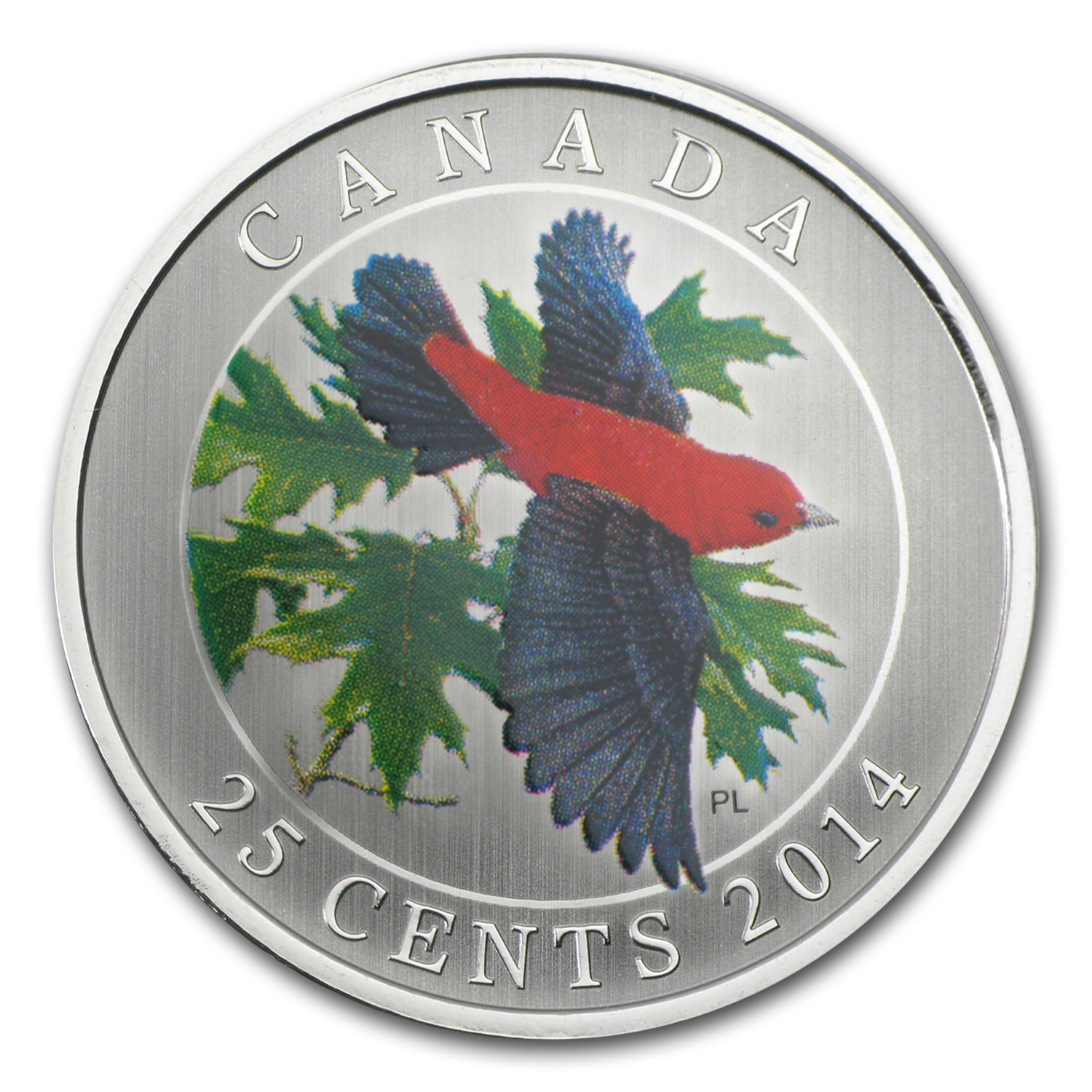 2014 Birds of Canada $0.25 Scarlet Tanager (Colored)
